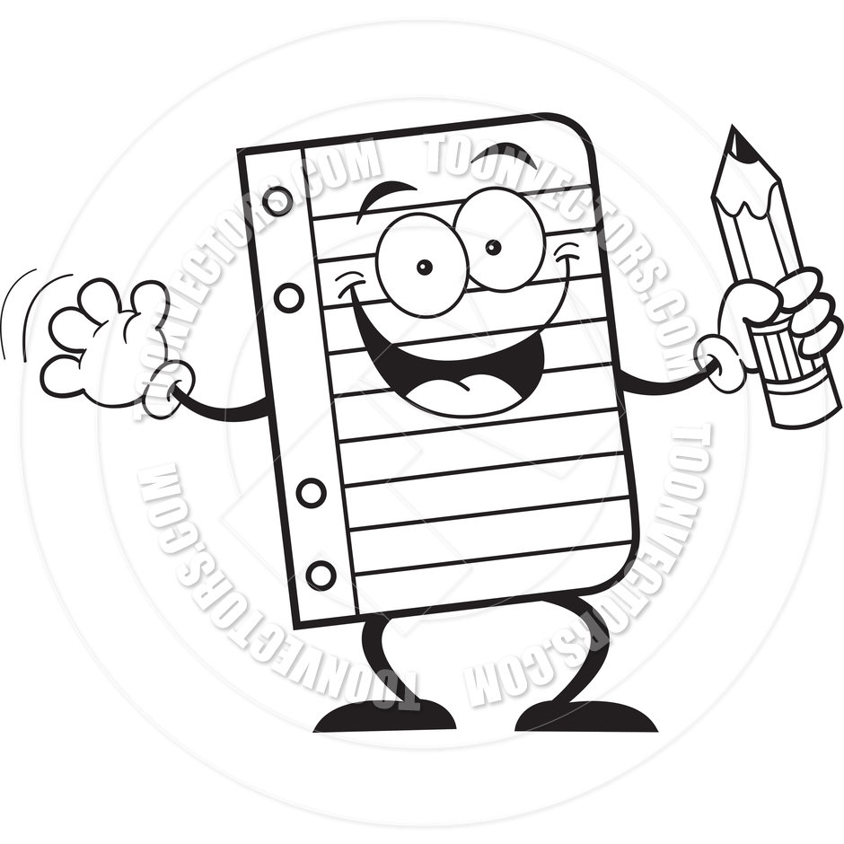 940x940 Cartoon Notebook Paper Holding A Pencil (Black And White Line Art