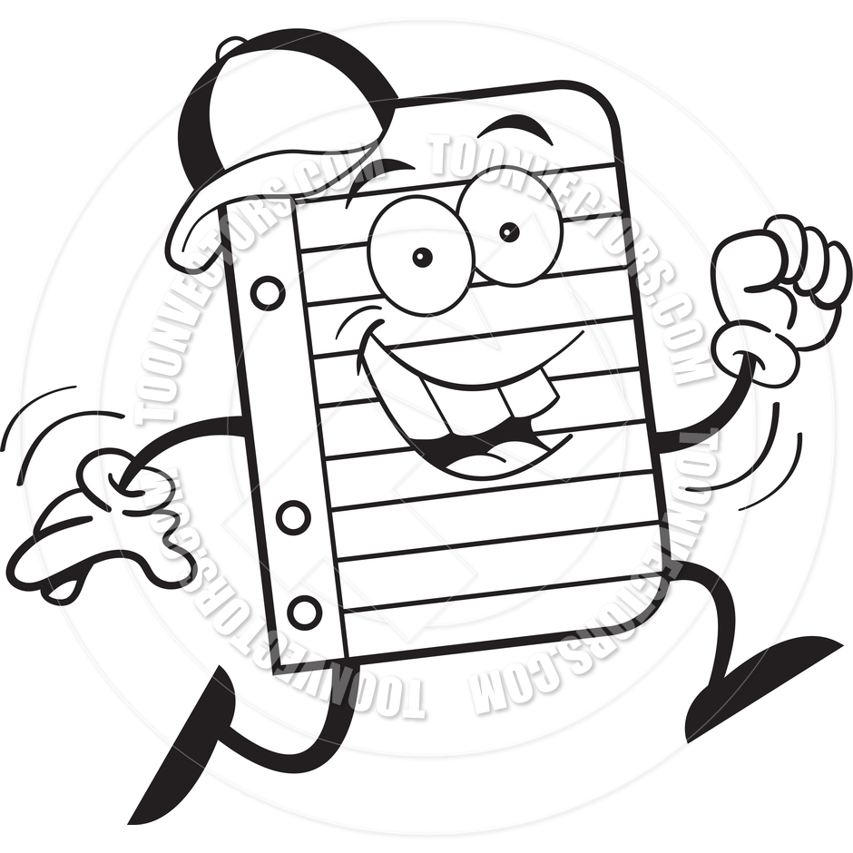 940x940 Cartoon Notebook Paper Running (Black And White Line Art) By
