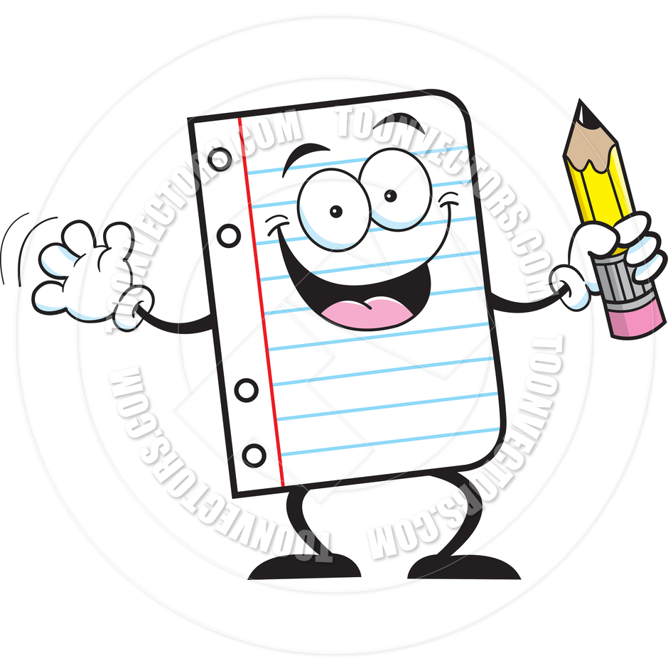 940x940 Cartoon Notebook Paper Holding A Pencil By Kenbenner Toon