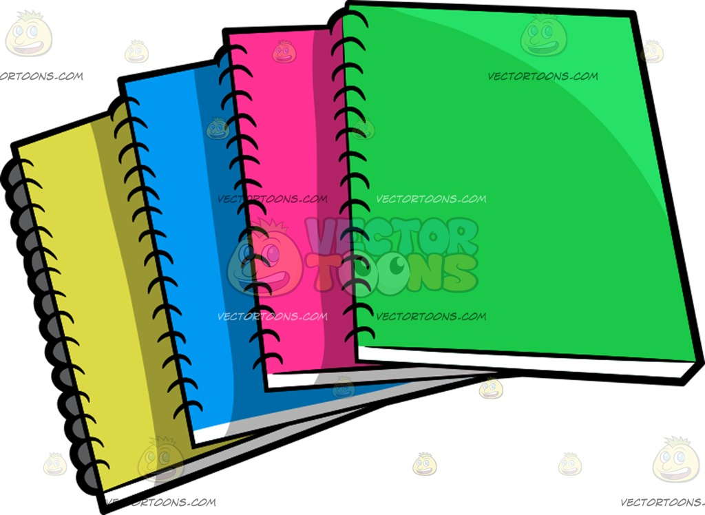 1024x748 Colorful Notebooks Cartoon Clipart