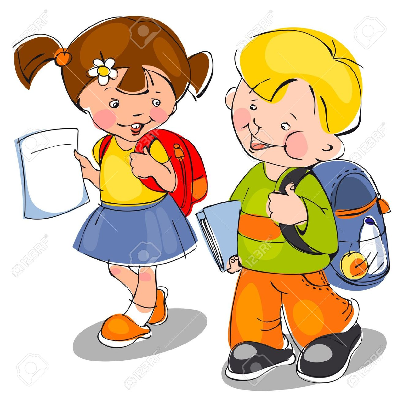 1300x1300 Kids with backpacks clipart