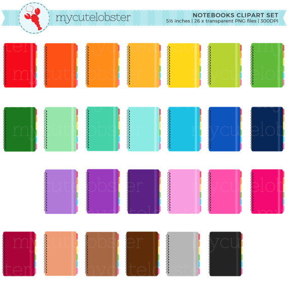 570x570 Rainbow Notebooks Clipart Set notebooks clip art planners