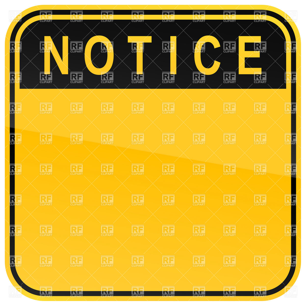 1200x1200 Square Yellow Traffic Sign With Notice Heading Royalty Free