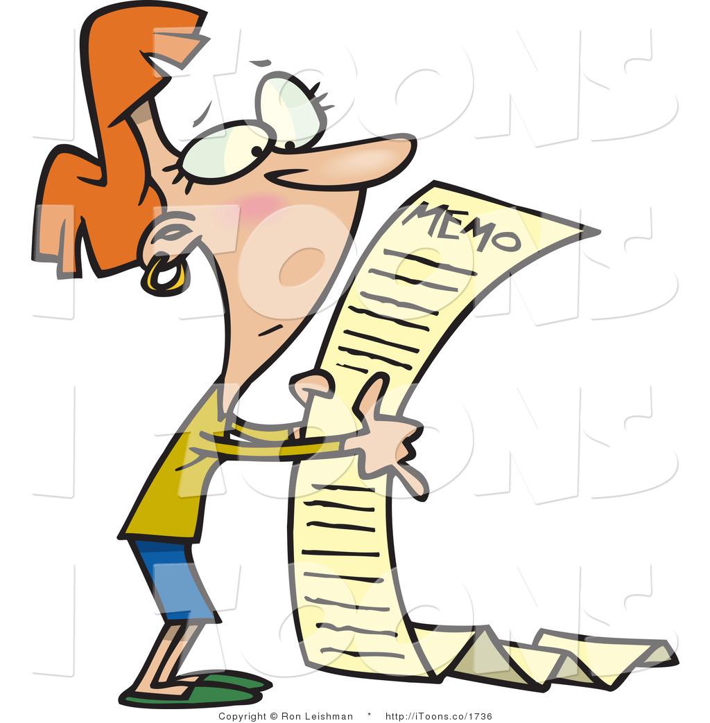 1024x1044 Vector Clip Art Of A Woman Reading A Very Long Memorandum Notice