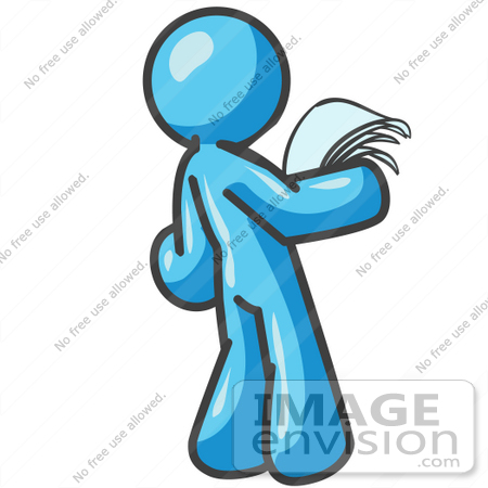 450x450 Clip Art Graphic Of A Sky Blue Guy Character Reading A Notice