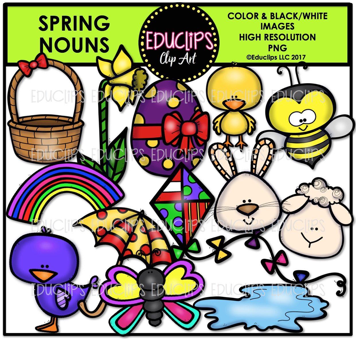 1242x1183 Spring Nouns Clip Art Bundle (Color And Bampw)