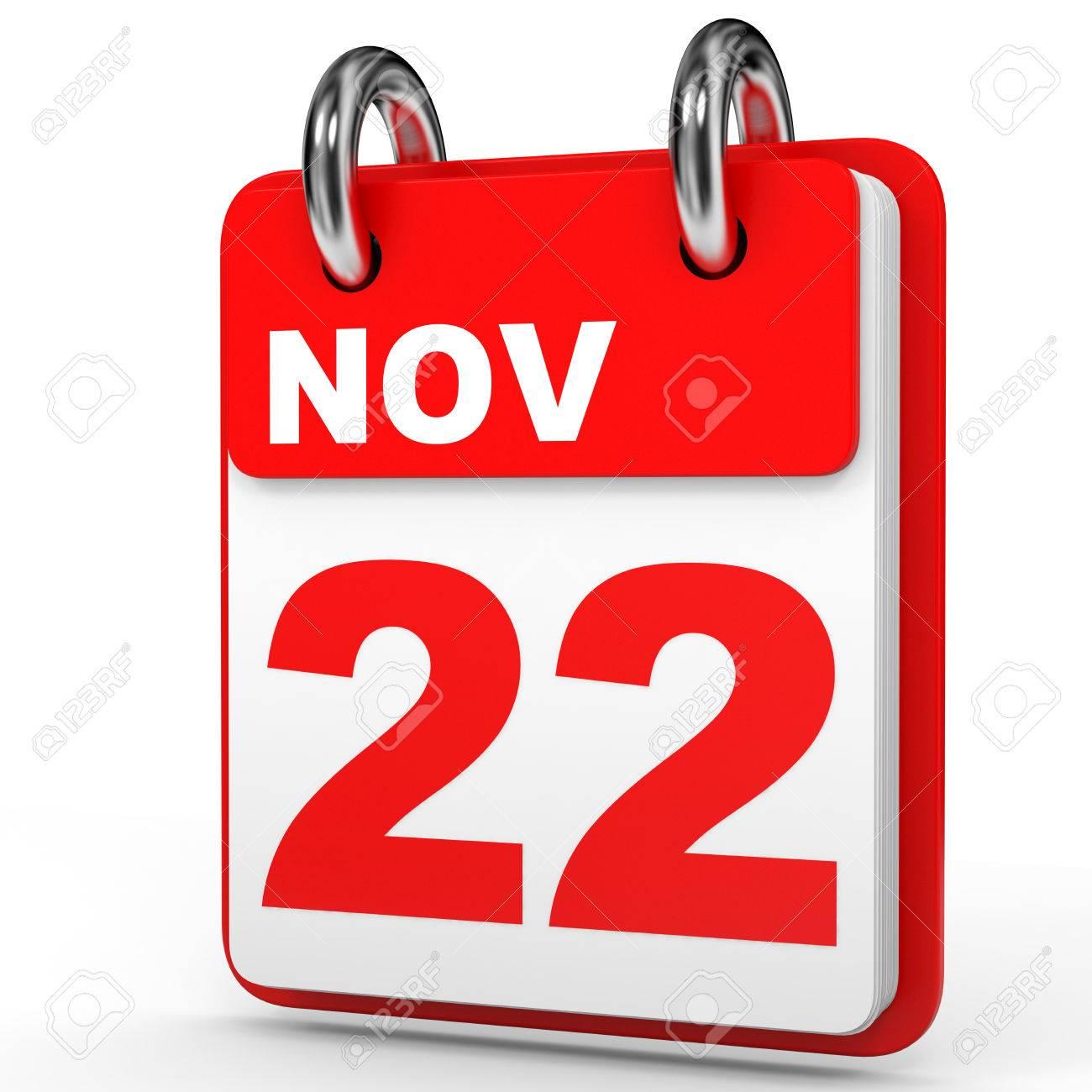 1300x1300 November 22. Calendar On White Background. 3d Illustration. Stock