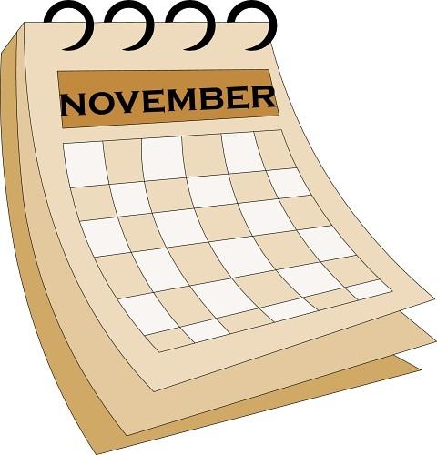 480x500 November Calendar Clipart