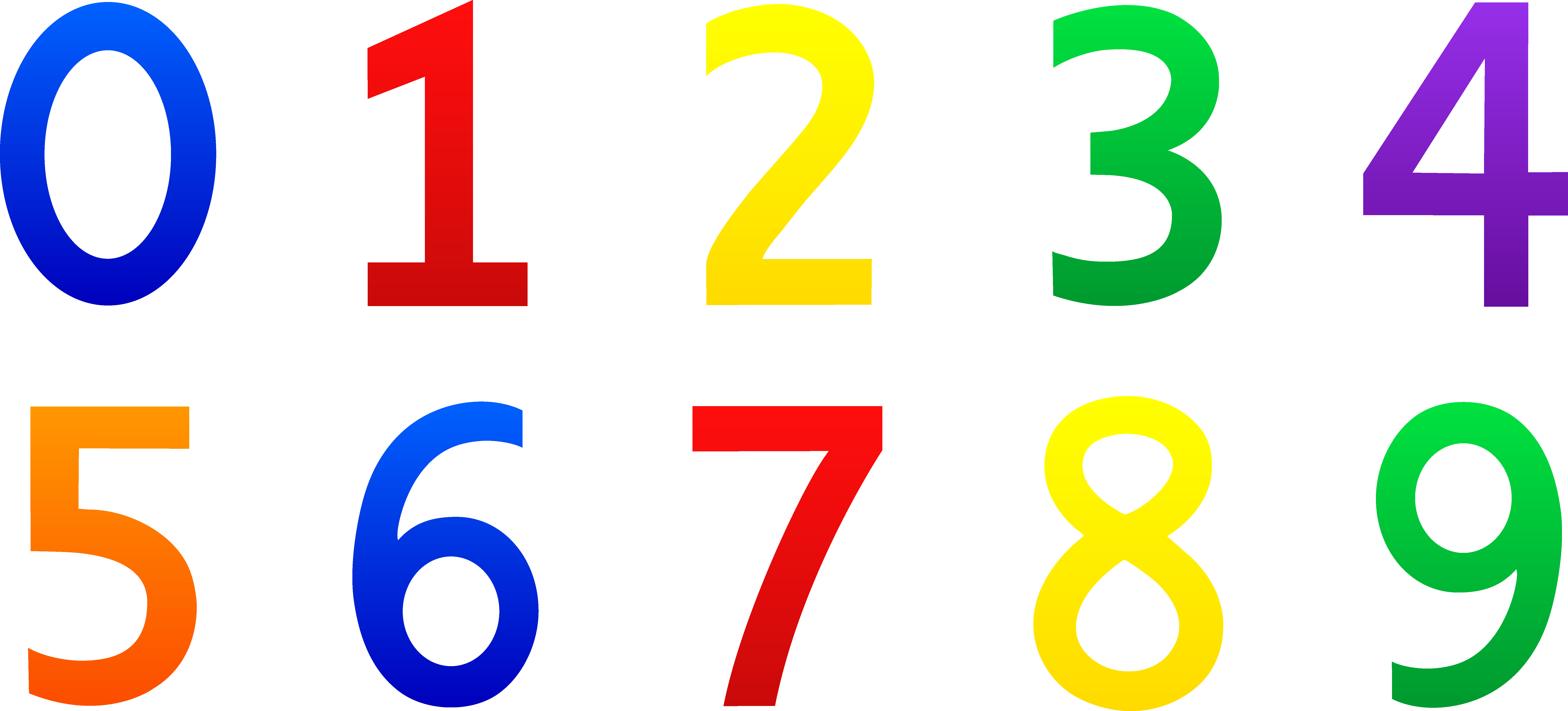 7787x3533 Colorful Set Of Numbers 0 9