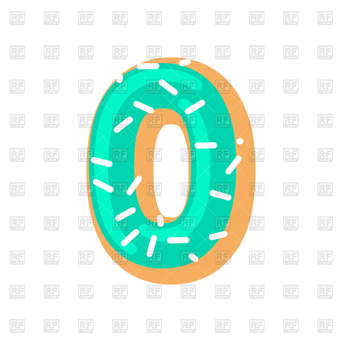 1200x1200 Number 0 Donut Font Royalty Free Vector Clip Art Image