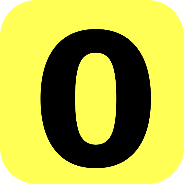 600x600 Yellow Rounded Number 0 Clip Art