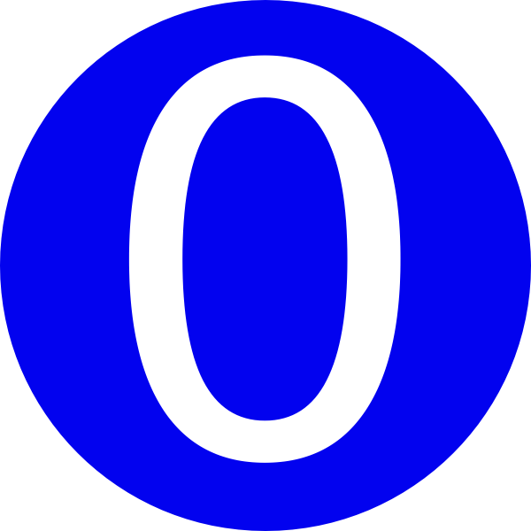 600x600 Blue, Rounded,with Number 0 Clip Art