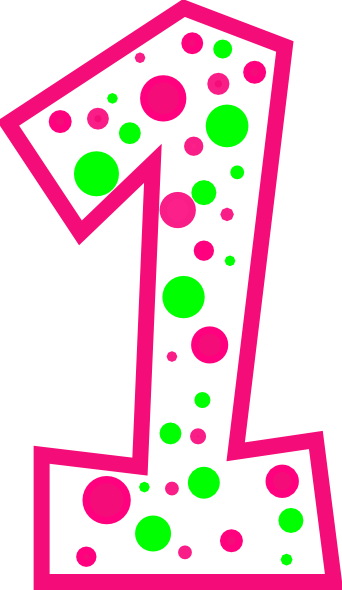 342x590 Number 1 Pink And Green Polkadot(R) Clip Art