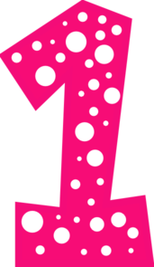 171x295 Number 1 Pink And White Polkadot Clip Art