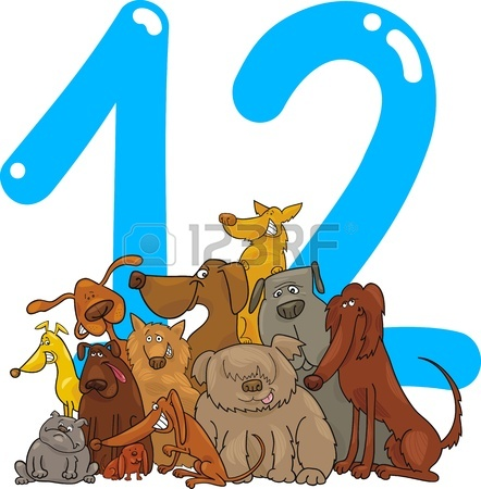442x450 Cartoon Illustration With Number Eight And Dogs Royalty Free