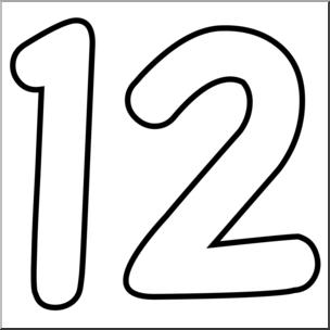 304x304 Clip Art Number Set 09 12 Outline Abcteach