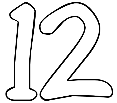 444x389 12 Number Clipart