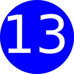 300x300 Number 13 Blue Background Clip Art