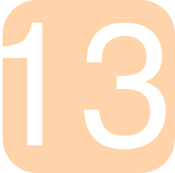 600x591 Orange, Rounded, Square With Number 13 Clip Art