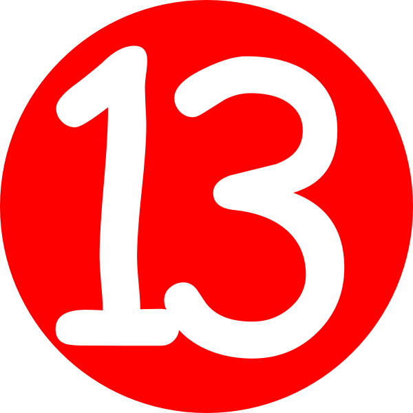 600x600 Red, Rounded,with Number 13 2 Clip Art