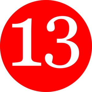 300x300 Red, Rounded,with Number 13 Clip Art