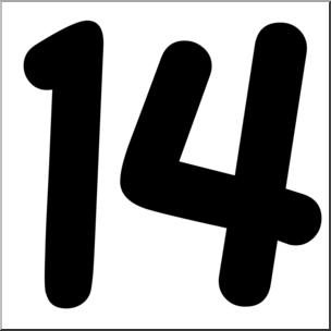 304x304 Clip Art Number Set 09 14 Bampw Abcteach