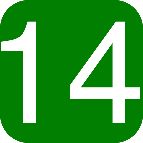 600x600 Green, Rounded, Square With Number 14 Clip Art