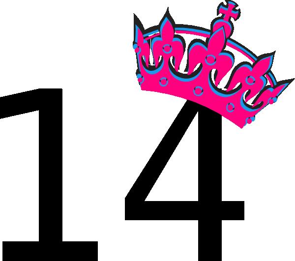 600x531 Pink Tilted Tiara And Number 14 Clip Art