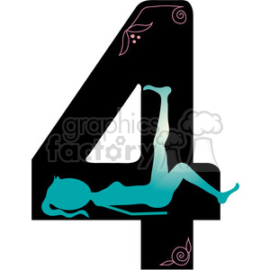 300x300 Royalty Free Number 4 Girly 388591 Vector Clip Art Image