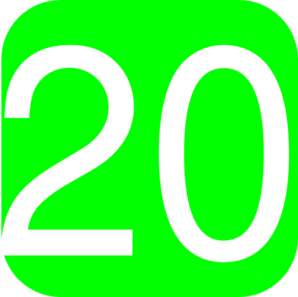298x297 Lime Green, Rounded, Square With Number 20 Clip Art