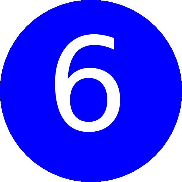 600x600 Number 6 Blue Background Clip Art