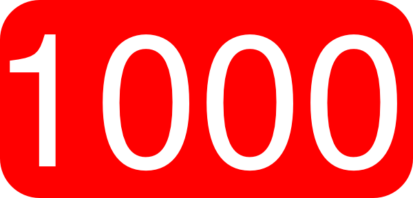 600x288 Red, Rounded, Rectangle With Number 1000 Clip Art