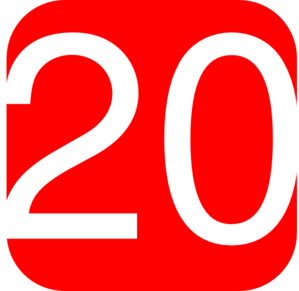 299x291 Red, Rounded, Square With Number 20 Clip Art