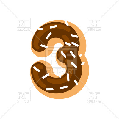 400x400 Number 3 Donut Font Royalty Free Vector Clip Art Image