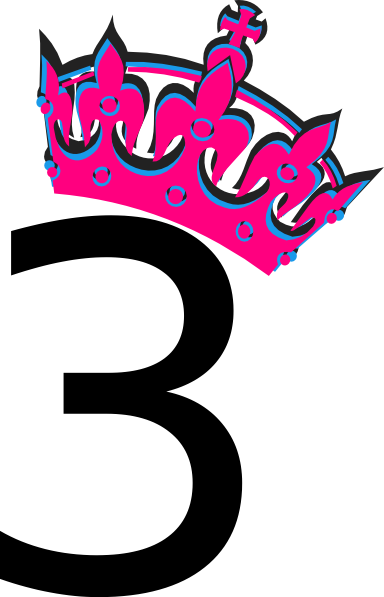 384x597 Pink Tilted Tiara And Number 3 Clip Art