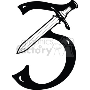300x300 Royalty Free Number 3 Sword 387745 Vector Clip Art Image