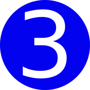 300x300 Blue, Rounded,with Number 3 Clip Art