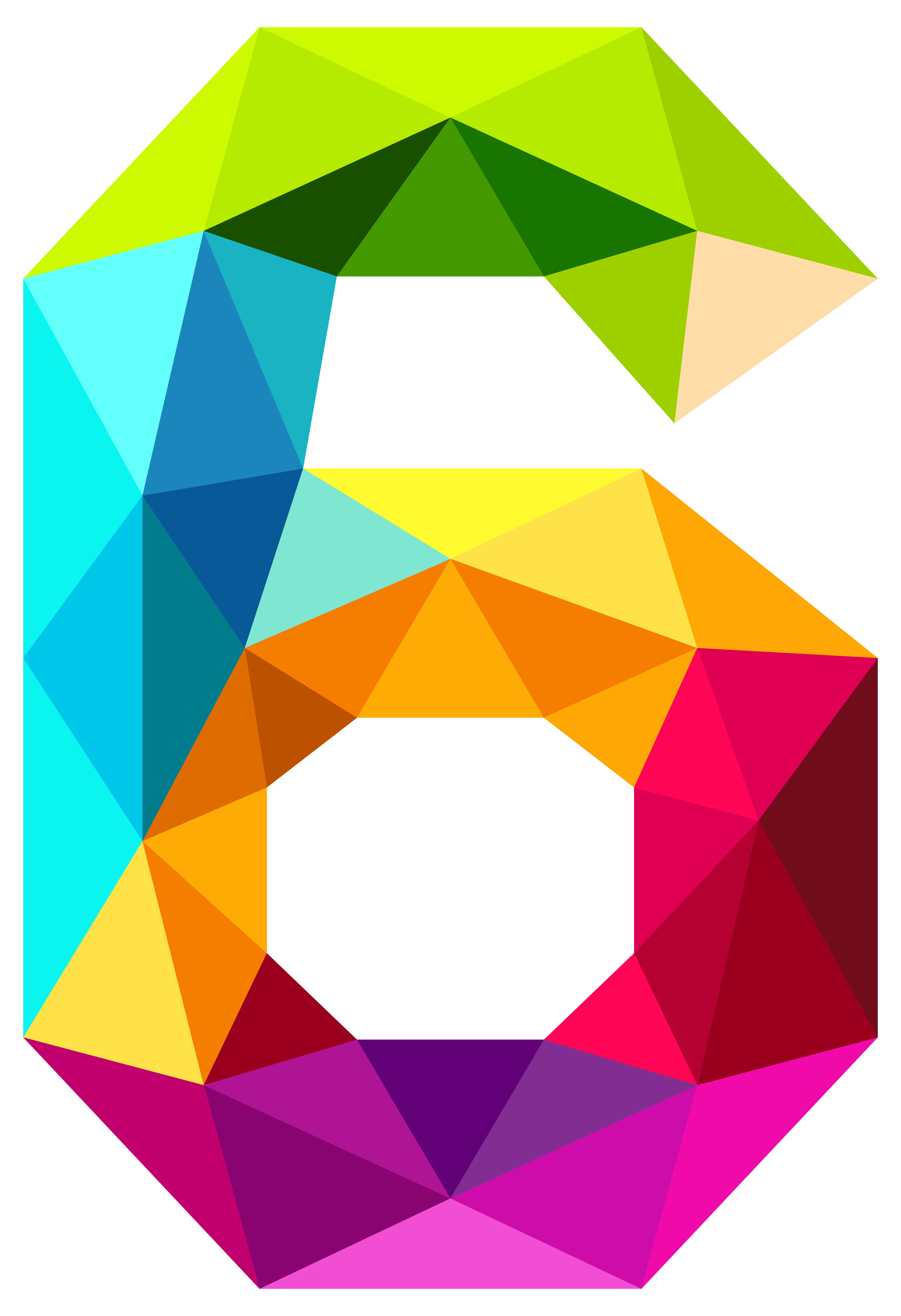 3879x5667 Colourful Triangles Number Six Png Clipart Imageu200b Gallery