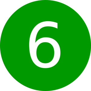 300x300 Number 6, Green, Round Clip Art