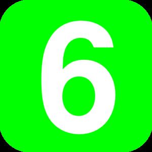 300x300 Number 6 Green Clip Art
