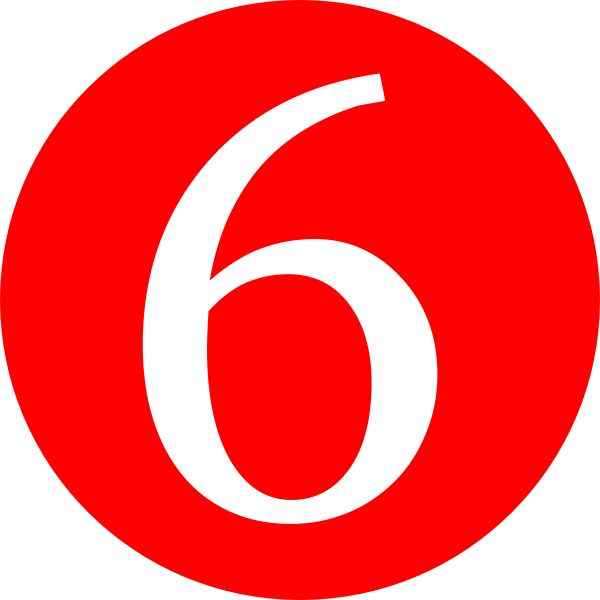 600x600 Red, Rounded,with Number 6 Clip Art