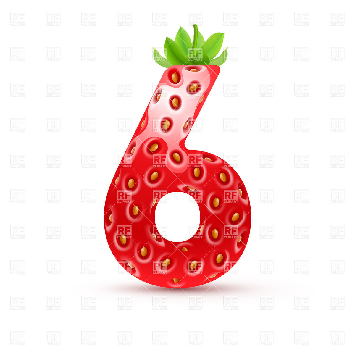 1200x1200 Strawberry Style Font, Number 6 Royalty Free Vector Clip Art Image
