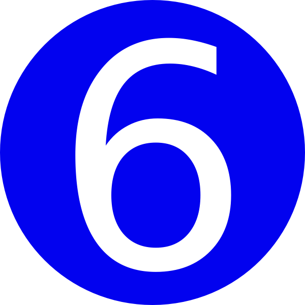 600x600 Blue, Rounded,with Number 6 Clip Art