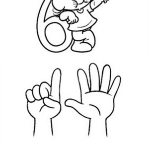 300x300 Finger Number 6 Coloring Page Bulk Color