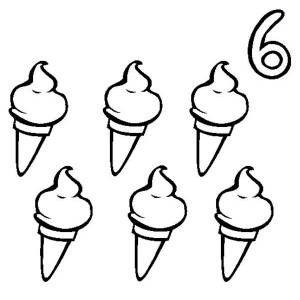 300x300 Ice Creams And Number 6 Coloring Page Bulk Color