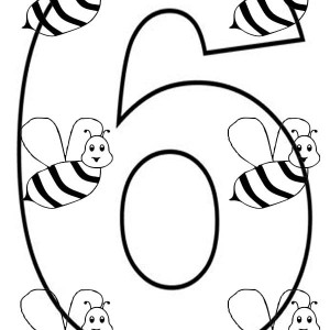 300x300 Number 6 Coloring Page For Kids Bulk Color