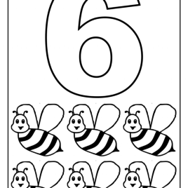 268x268 Number 6 Coloring Pages For Kids, Counting Sheets Printables Free