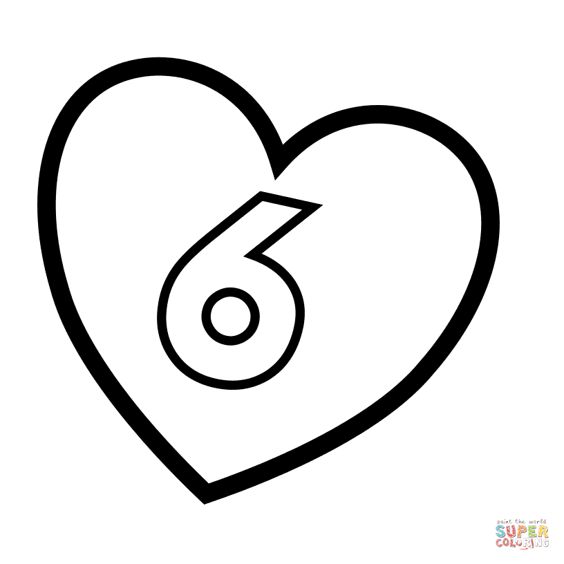 816x816 Number 6 In Heart Coloring Page Free Printable Coloring Pages