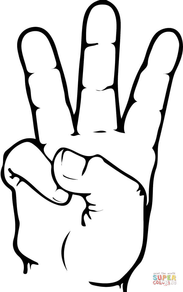 600x960 Asl Number 6 Coloring Page Free Printable Coloring Pages