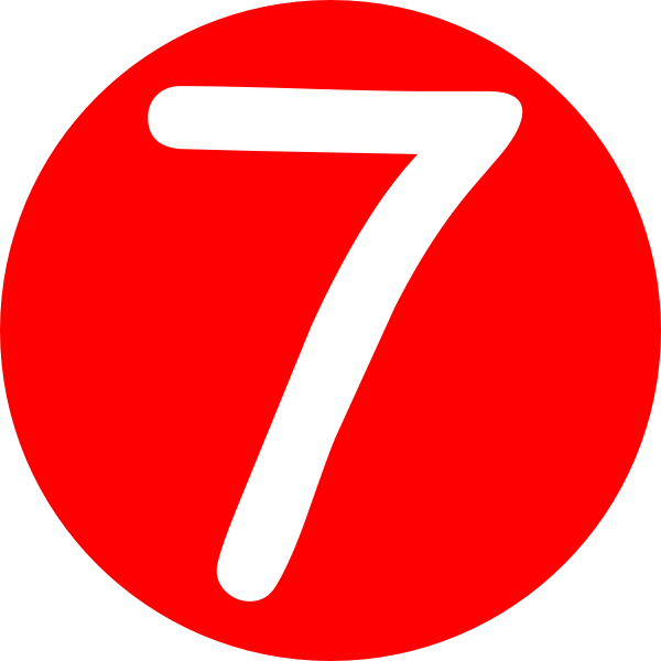 600x600 Red, Rounded,with Number 7 Clip Art